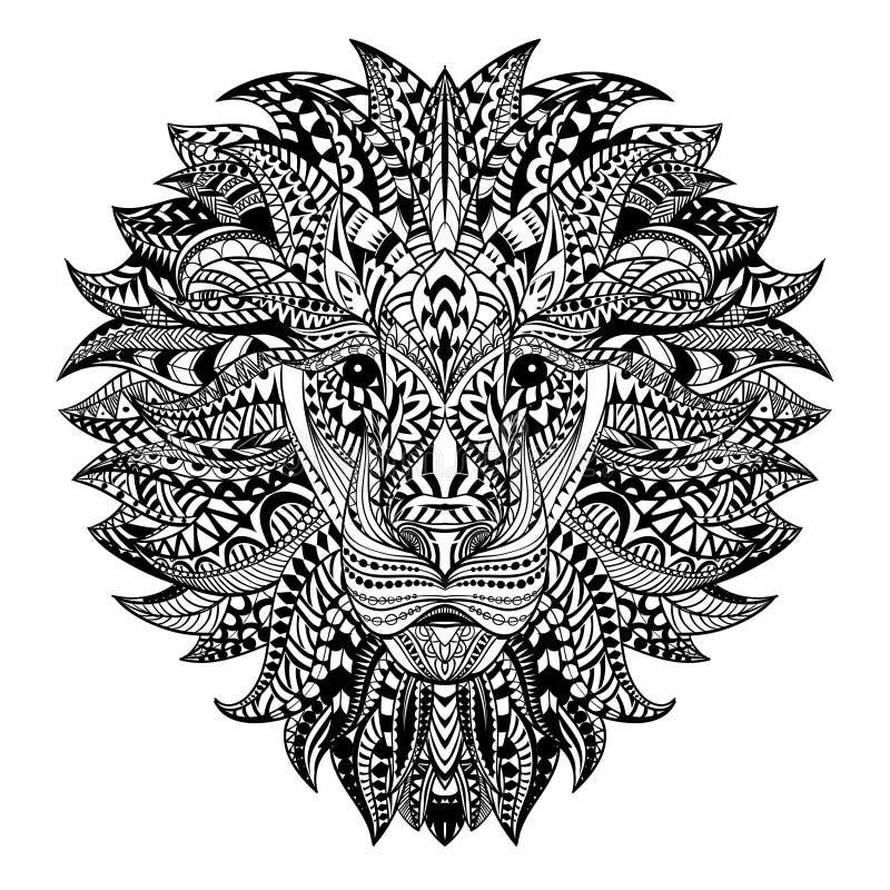 在阿兹台克样式的详细的狮子 在背景的被仿造的头 非洲印地安图腾纹身花刺设计 向量 向量例证