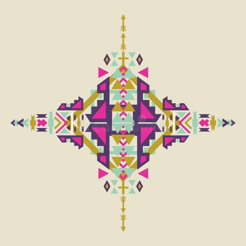 在阿兹台克窗框的部族元素,部族设计隔绝在淡色背景 美洲印第安人主题 库存例证