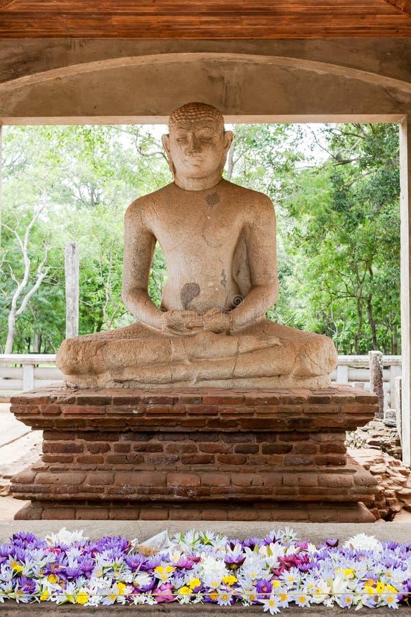 在阿努拉德普勒,斯里兰卡的Samadhi菩萨雕象 免版税库存照片