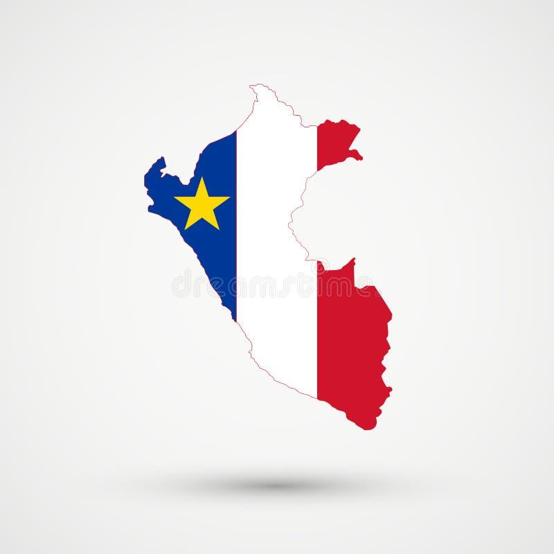 在阿卡迪亚旗子颜色的秘鲁地图,编辑可能的传染媒介 皇族释放例证