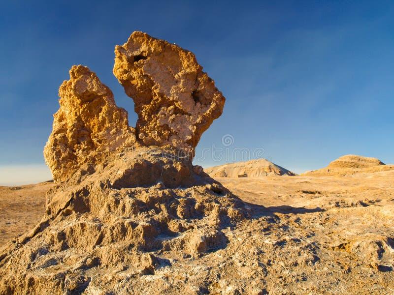 在阿塔卡马月亮谷的异常的岩层  库存图片