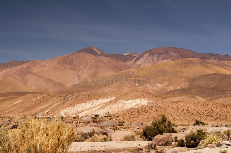 在阿塔卡马沙漠,智利的火山的风景 库存照片