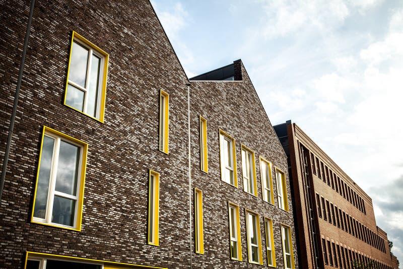 在阿姆斯特丹市传统居民住房的一般风景视图  库存照片