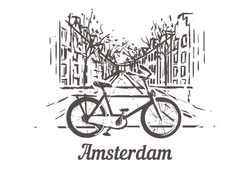 在阿姆斯特丹的街道背景的自行车有水道的 皇族释放例证