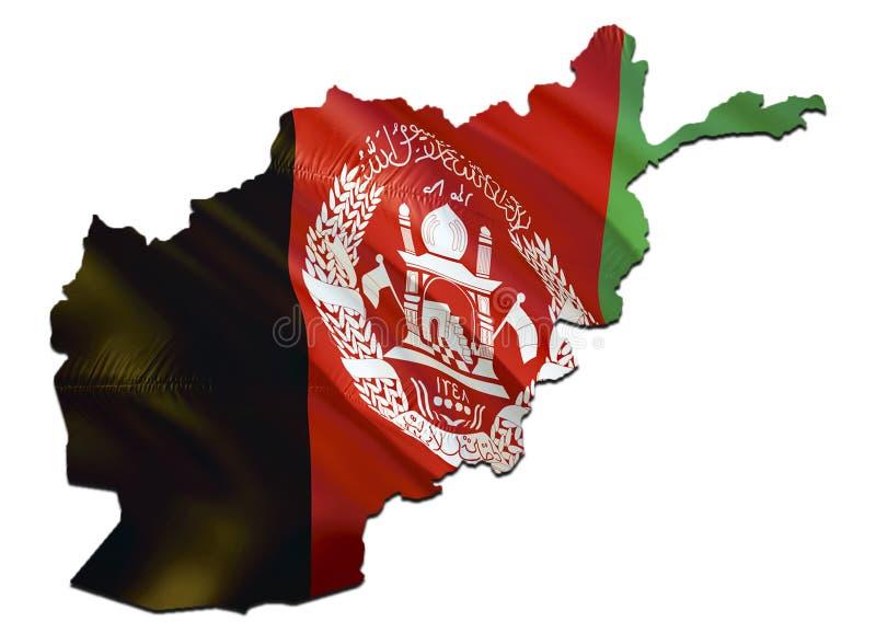 在阿富汗挥动的旗子的地图 回报阿富汗地图和挥动在中东地图的3D旗子 国家标志  库存例证