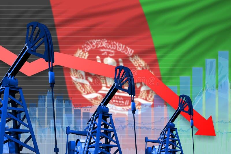 在阿富汗旗子背景-阿富汗石油工业或市场概念的工业例证的降低,落图表 3d 库存例证