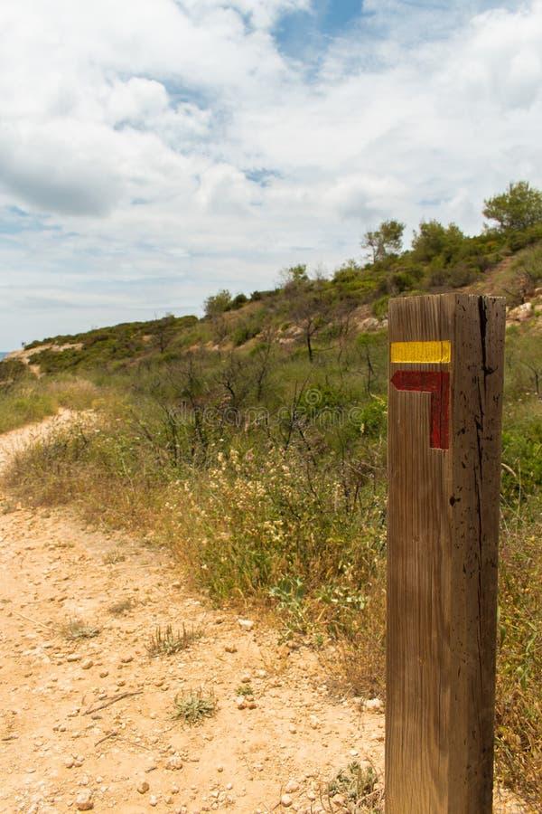 在阿尔加威,葡萄牙向左转fingerpost 库存照片
