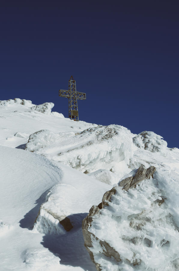 在阿尔卑斯到达的目标 免版税图库摄影
