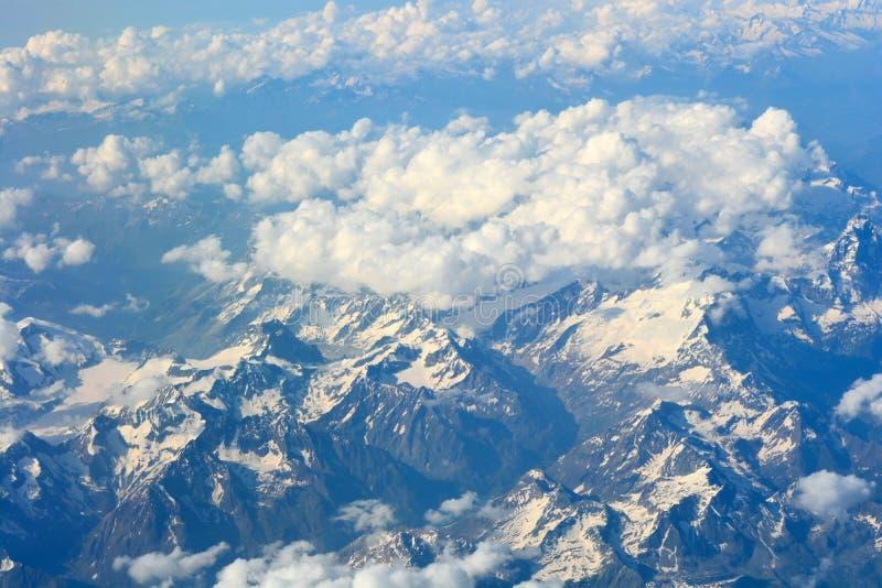 在阿尔卑斯的顶视图 库存图片