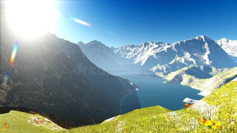 在阿尔卑斯3d翻译的田园诗夏天风景 库存例证