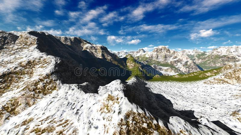 在阿尔卑斯3d翻译的田园诗夏天风景 皇族释放例证