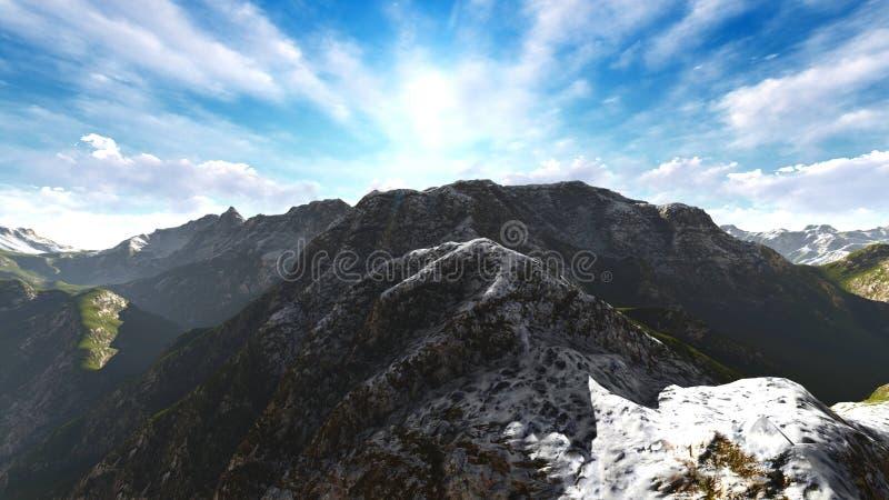 在阿尔卑斯3d翻译的田园诗夏天风景 向量例证