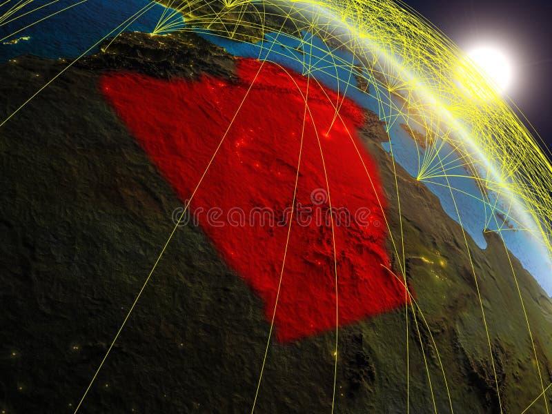 在阿尔及利亚附近的网络从空间 库存例证