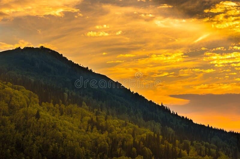 在阿尔泰山的美丽如画的日落, Ridder,哈萨克斯坦 库存照片