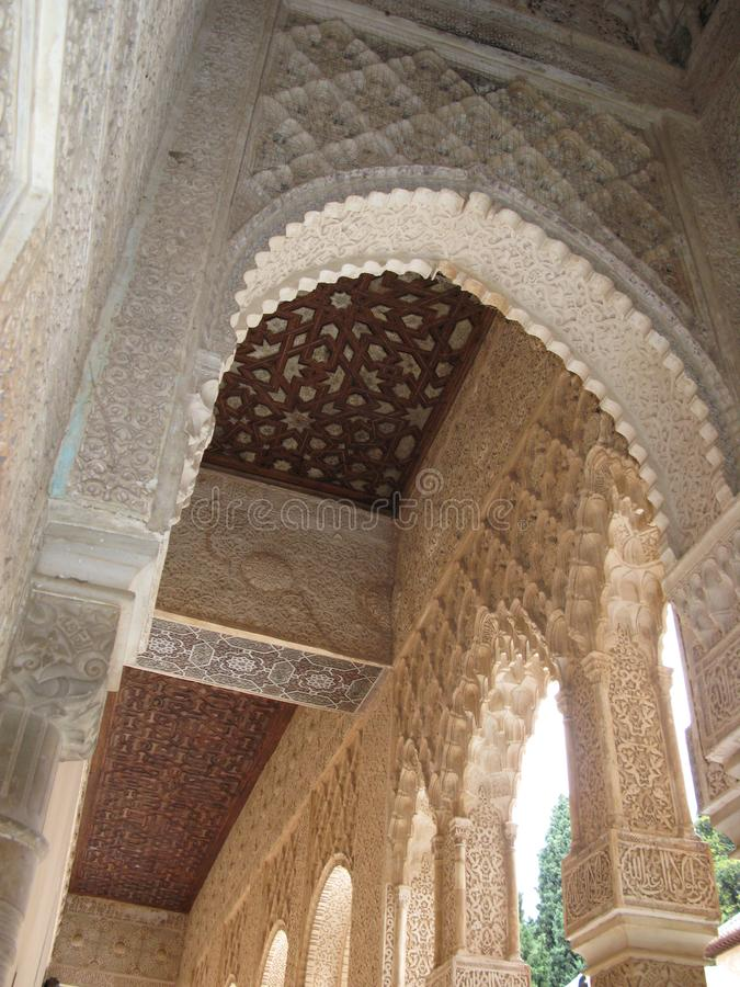 在阿尔罕布拉宫宫殿里面 免版税库存图片