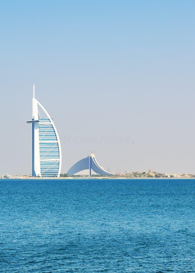 在阿拉伯人的世界的前七个星豪华旅馆Burj Al阿拉伯塔的看法 库存照片