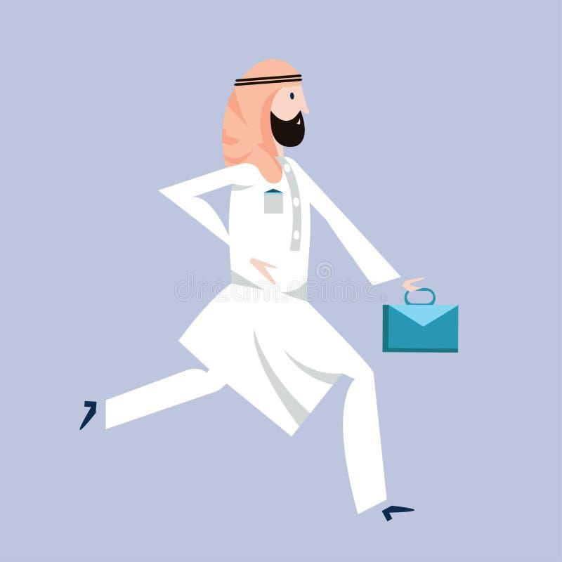 在阿拉伯全国礼服的连续阿拉伯商人有公文包的 传染媒介例证,在白色 向量例证