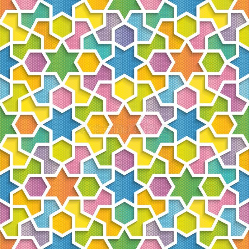 在阿拉伯样式的五颜六色的几何样式 库存例证