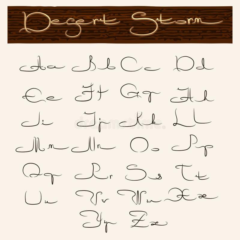 在阿拉伯样式的手拉的字母表 库存例证