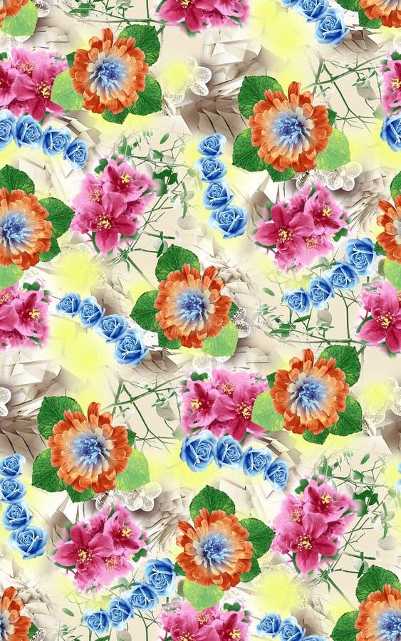 在阿拉伯样式的花卉样式背景 向量例证