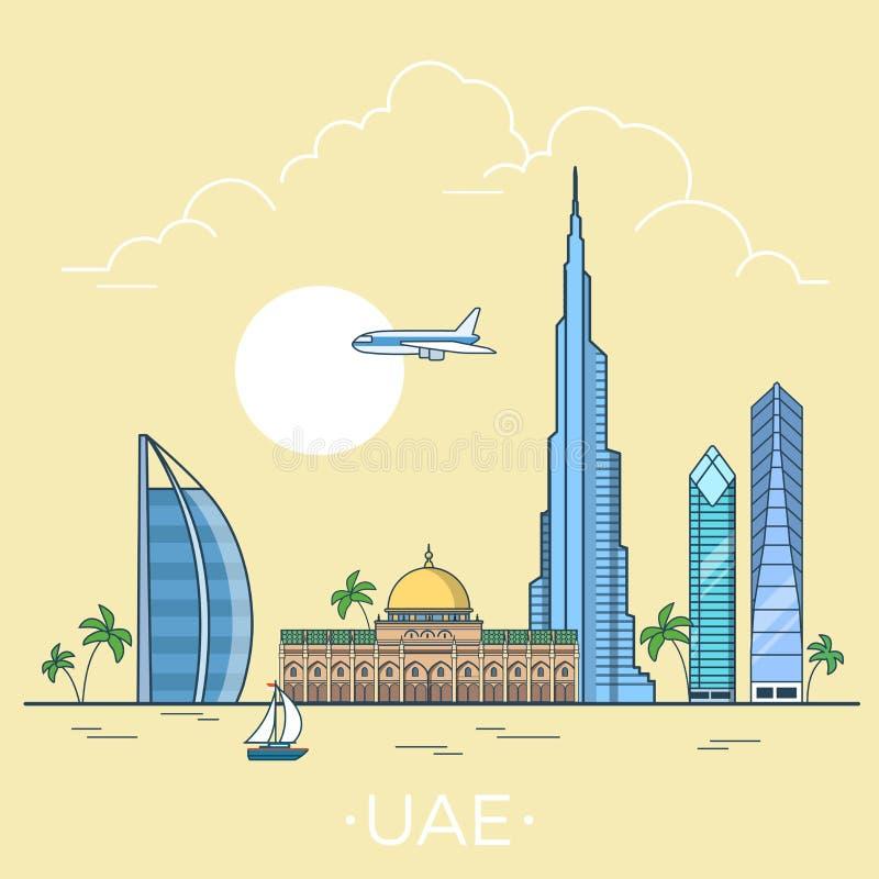 在阿拉伯联合酋长国线性平的传染媒介设计临时雇员的世界旅行 库存例证