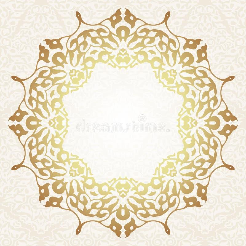 在阿拉伯主题的花卉框架背景 皇族释放例证