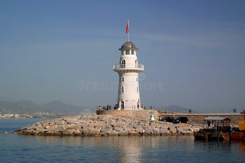 在阿拉尼亚,土耳其港的灯塔  免版税库存图片
