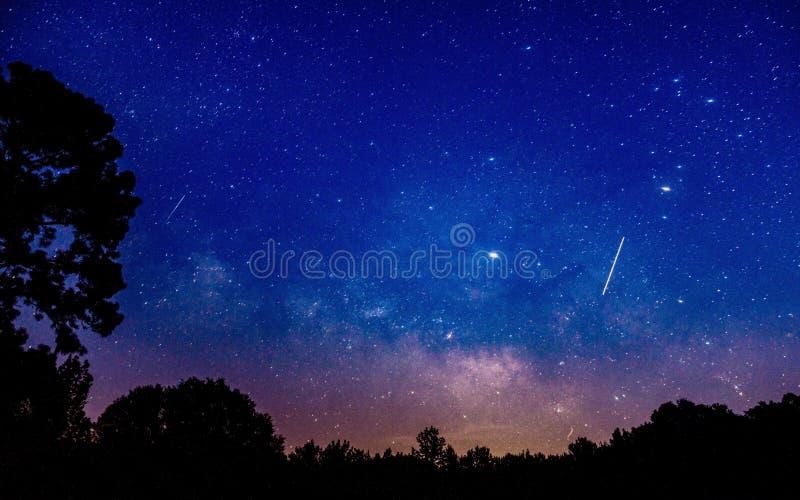在阿拉巴马夜空的流星 库存照片