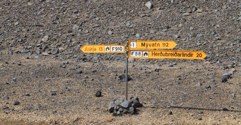 在阿斯恰火山附近的沙漠连接点,高地,冰岛 库存照片