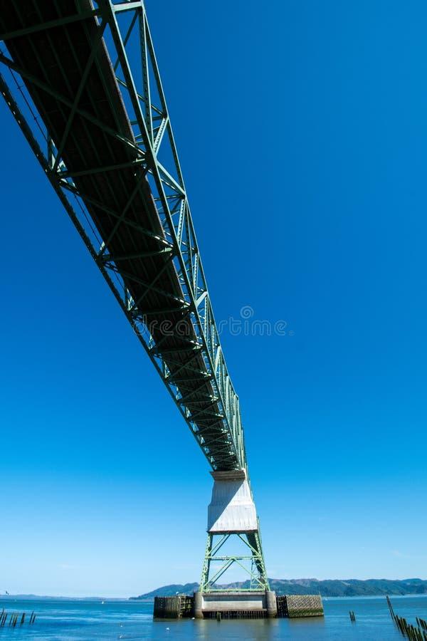 在阿斯托利亚Megler桥梁下,去在哥伦比亚河在俄勒冈 免版税库存照片