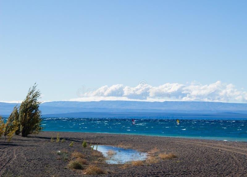 在阿根廷风帆冲浪海滩 免版税库存图片