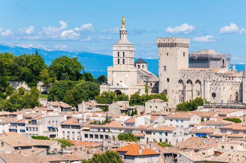 在阿维尼翁,有教皇宫城堡的法国中世纪老镇都市风景的全景在它的心脏 库存照片