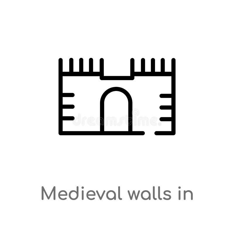 在阿维拉传染媒介象的概述中世纪墙壁 r 编辑可能 皇族释放例证
