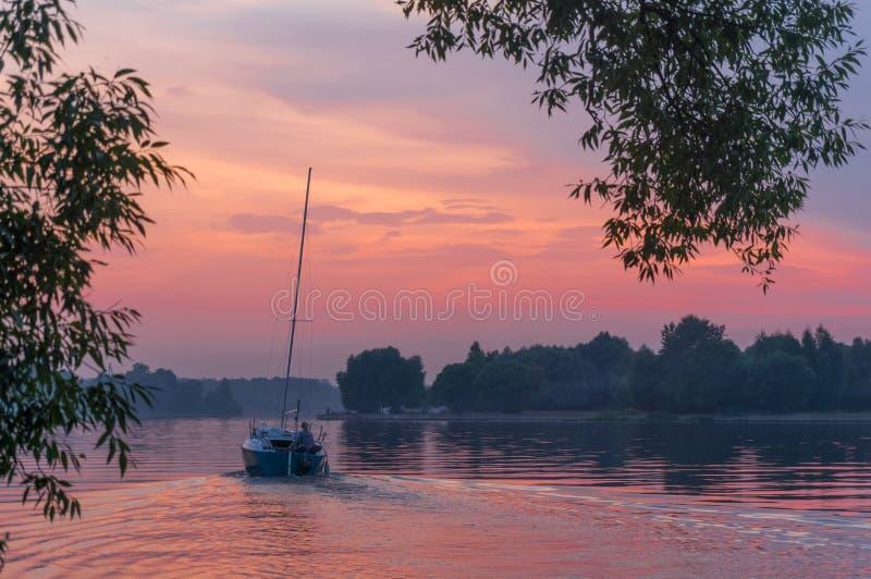 在阿马佐尼亚河的帆船  免版税库存照片