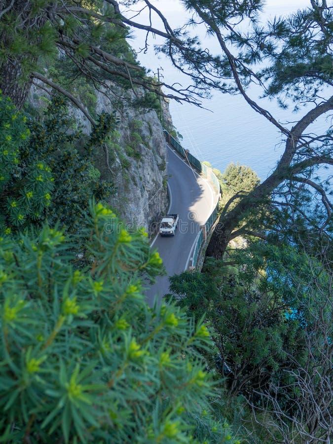 在阿马尔菲海岸的沿海路 免版税库存图片