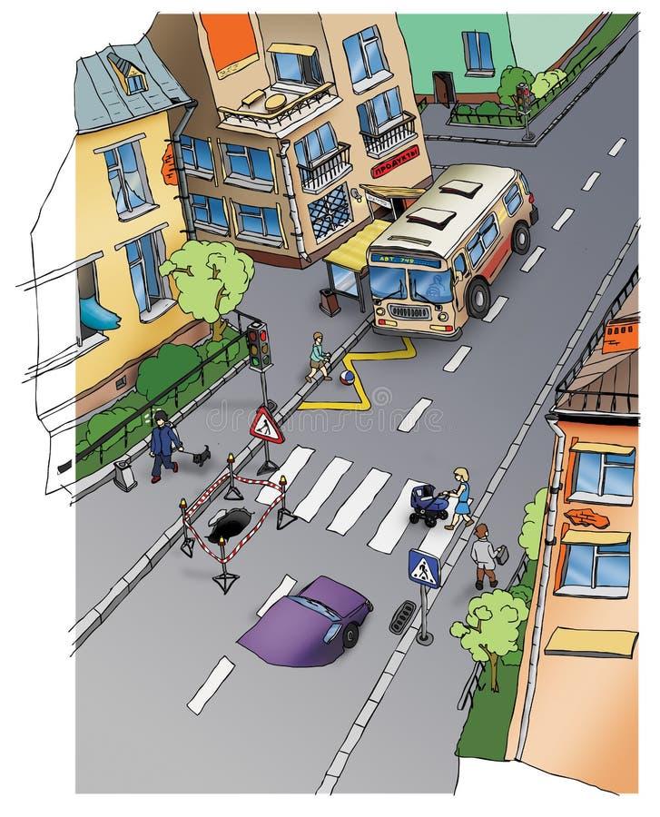 公路安全。 街道。 画。 库存例证