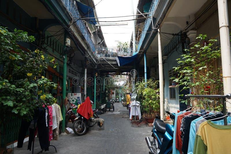 在陈兴道街,第5区,胡志明市上的郝Si Phuong胡同 免版税库存照片