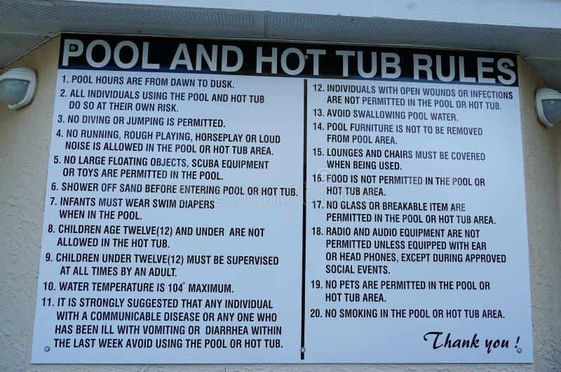 在陈述的手段或家协会的水池的标志规则为对水池和浴盆的使用 免版税图库摄影
