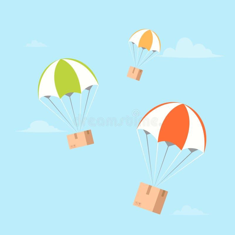在降伞的包裹飞行 空气运输 库存例证