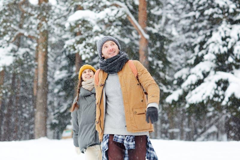 在降雪的夫妇 免版税库存图片