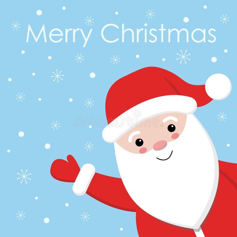 在降雪的设计的逗人喜爱的圣诞老人有蓝色背景 库存例证
