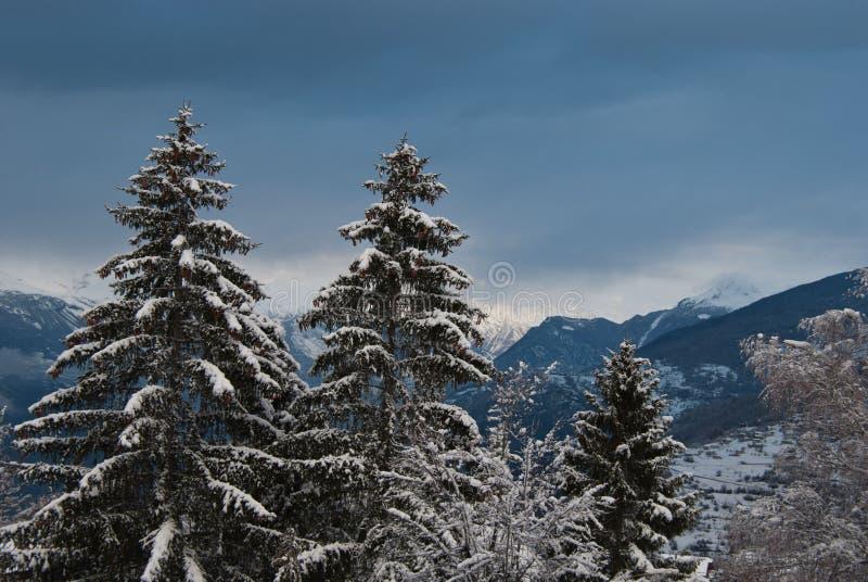 在降雪以后的阿尔卑斯 免版税库存照片