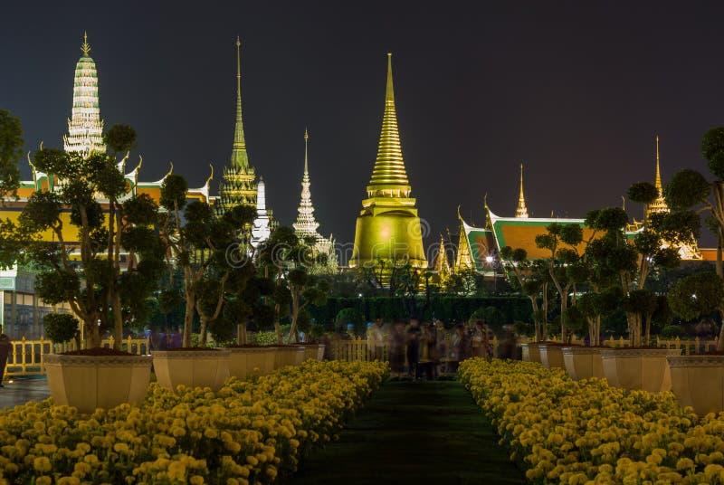 在陛下国王普密蓬・阿杜德,萨娜姆Luang礼仪地面,曼谷,没有的泰国皇家火葬仪式的陈列  免版税库存照片