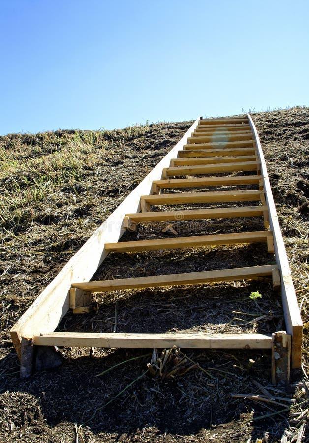 在陡峭的小山的木梯子作为人的发展的标志 免版税图库摄影
