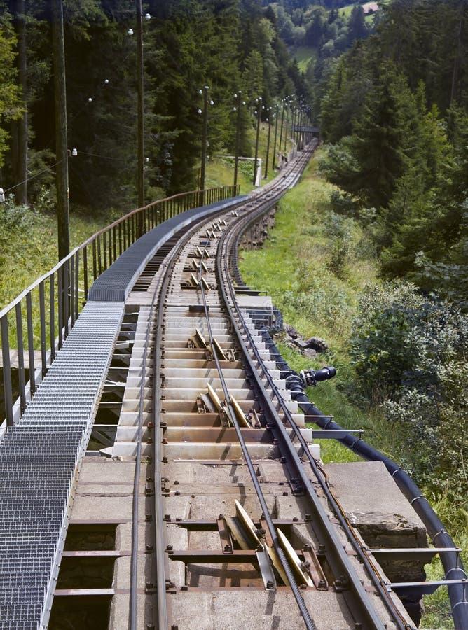 Niesen缆索铁路的方式 库存照片