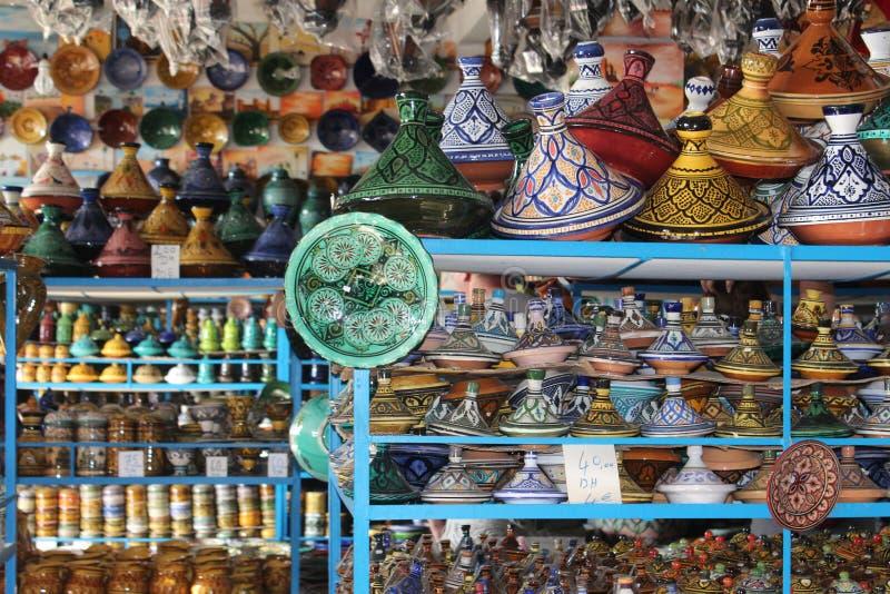 在陶瓷商店在摩洛哥 免版税库存图片