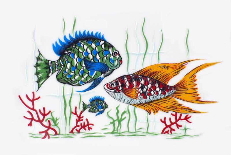 在陶瓷的五颜六色的鱼 库存照片