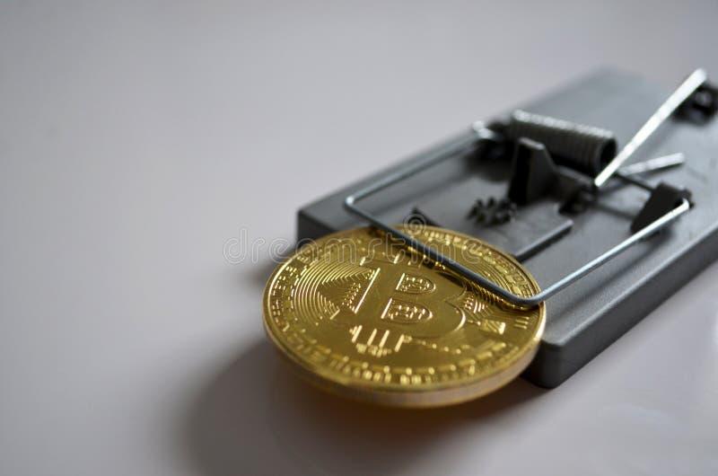 在陷井的Bitcoin 免版税库存照片