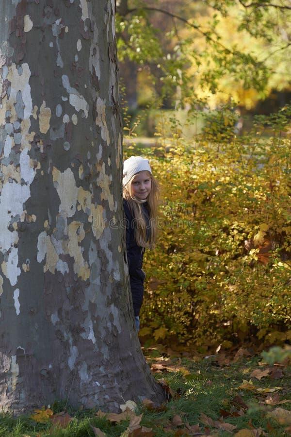 在隐藏少许结构树的女孩之后 免版税库存照片