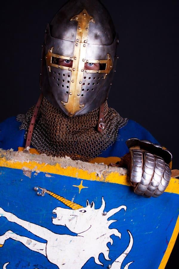 在隐藏的骑士盾之后 库存照片